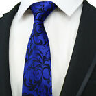 Classic Men's Necktie 8cm Silk Tie Jacquard Woven Blue Navy Neck Tie For Wedding