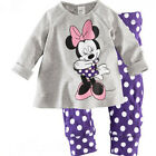 Kids Girls Mickey Minnie Hooded Jumper Sweatshirt T-Shirt Top Pajamas Outfit Set