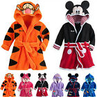 Baby Kids Boys Girls Warm Hooded Bath Robe Cartoon Nightwear Sleepwear Pj