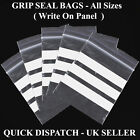 Write on Panel Grip seal plastic Clear bags  All Sizes in Inches Best Quality