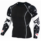 Men Compression Printed Long Sleeve T Shirt Stretch Gym Sport Fitness Top US