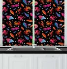 """Lobster Kitchen Curtains 2 Panel Set Window Drapes 55"""" X 39"""" Ambesonne"""