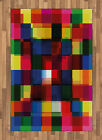 Colorful Drawing Area Rug Flat Woven Accent Rug Home Decoration 2 Sizes