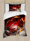 Boys Cars Duvet Cover Set Twin Queen King Sizes with Pillow Shams
