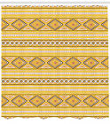 Yellow Ornamental Pattern Shower Curtain Fabric Decor Set with Hooks 4 Sizes