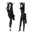 Halloween costume black Cat lady  jumpsuit sexy Cat women roleplay Warm fluffy