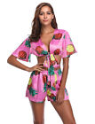 Women Short Sleeve Pineapple Print Two Piece Outfits Jumpsuit Sexy Party Romper