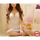 Sexy White Babydoll Set Lace Nightwear Bride Lingerie Crotchless Thong Chemise