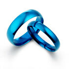Unisex His and Her Matching Blue Dome Wedding Engagement Rings Bands Set 081A3