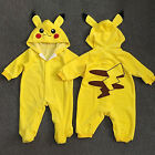 Newborn Baby Boys Girls Pokemon Pikachu Hooded Jumpsuit Romp
