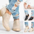 womens low heels ankle boots booties round