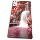 Waterfall Forest Red Landscapes SINGLE CANVAS WALL ART Picture Print
