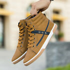 Mens High Top Sports Shoes Fashion Leather Athletic Retro Sneakers Large Size