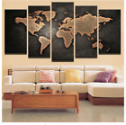 Canvas Modern Painting Retro World Map 5 Pcs HD Prints Wall Art Decor Poster