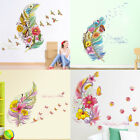 Colorful 3d Vivid Feather Butterfly Birds Flower Wall Stickers Home Decor Ca New