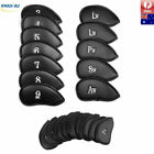 12pcs Black Set PU Leather Golf Head Covers Iron Club Putter Protective
