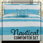Twin Full/Queen or King Comforter Blue White Nautical Anchor Stripe Bedding Set image