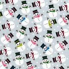 Printed Polyester Cotton Fabric - Christmas Snowman- Silver - 874