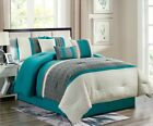 Empire Home 7-Piece Enas Comforter Set Turquoise / Gray Embroidered Bedding Set  image