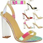 Womens Ladies High Heels Sandals Perspex Hologram Clear Block Heel Party Shoes