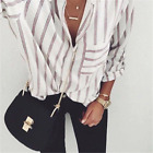 Womens Solid Tops Striped Blouse Women Blusas Loose Slim Fit Long Sleeve Shirts