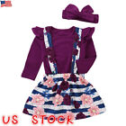 US Toddler Kid Baby Girl T-shirt Top+Straps Skirt Dress Prin