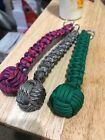 "7/8"" MONKEY FIST PARACORD KEYCHAIN STEEL BALL(U-PIC THE COLOR)!MADE IN THE USA!"