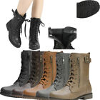 DREAM PAIRS Women Winter Mid Calf Military Pocket Wallet Lace Up Combat Boots