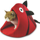 Cute Cat Bed Cave Decorative Fish Shaped,Comfy Cats Small Dogs Kitten Pet Bed