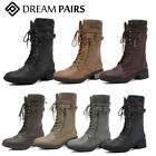 DREAM PAIRS Womens Faux Fur Mid Calf Lace Up Military Combat Boots Size 5-12