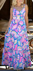 New Lilly Pulitzer MELODY MAXI DRESS Pink Sunset The Sunny Side Blue FLOWERS 0 2