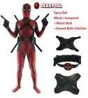 Deadpool Costume Adults Kids Cosplay Tights Jumpsuit  Mask  Accessories Full Set