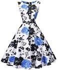 I2CRAZY Womens Boatneck Sleeveless Vintage 1950s Retro Rockabilly Prom Tea Dr...