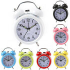 Vintage Alarm Clock Room Retro Bedside Twin Metal Bell Silent Nightlight Home