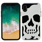 Apple iPhone XS / X Hybrid Skull ShockProof Protective Rubber Rugged Case Cover