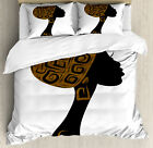 African Woman Duvet Cover Set with Pillow Shams Headscarf...