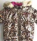 $158 New JUICY COUTURE Kids Girls Jacket Leopard Waterproof  PARKA Pink 18 M