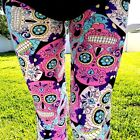 NWT Womens Sugar Skull Leggings Day Of The Dead Halloween Print Sizes OS & TC