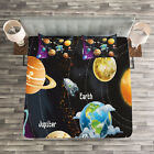 Milky Way Quilted Bedspread & Pillow Shams Set, Solar System Planet Print image