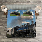 Steam Engine Quilted Bedspread & Pillow Shams Set, Countryside Train Print image