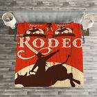 Vintage Quilted Bedspread & Pillow Shams Set, Rodeo Cowboy Rides Bull Print image