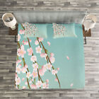 Weeping Flower Quilted Bedspread & Pillow Shams Set, Cherry Blossom Buds Print image