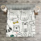 Cartoon Quilted Bedspread & Pillow Shams Set, Sketchy Cats with Toys Print