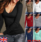 UK Women T Shirt Casual Long Sleeve Cotton V-Neck Blouse Ladies Slim Casual Tops