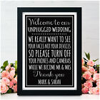 UNPLUGGED WEDDING Chalkboard Vintage Style Signs NO CAMERAS Wedding Signs