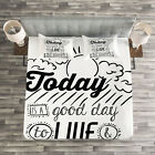 Quotes Quilted Bedspread & Pillow Shams Set, Inspiration Gratitiude Print image