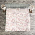 Japanese Quilted Bedspread & Pillow Shams Set, Spring Cherry Flourish Print image