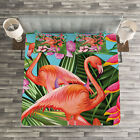 Flamingo Quilted Bedspread & Pillow Shams Set, Hibiscus Tropic Flower Print image