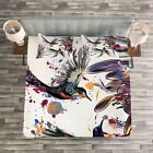 Nature Quilted Bedspread & Pillow Shams Set, Lily Birds Watercolor Print