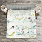 Animal Quilted Bedspread & Pillow Shams Set, Birds Sitting on Wires Print